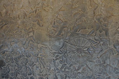 Langka battle, carved  bas relief from Ramayana Royalty Free Stock Images