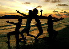 Langkawi Beach. Girls Posing. Langkawi Beach..Girls Posing at Sunset royalty free stock photography