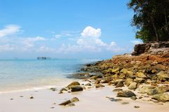 Langkawi Island. The beatiful beach of Langkawi Island, Malaysia with clear water and blue sky Royalty Free Stock Images