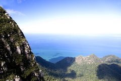 Langkawi Island Mountains and Seas. View of the mountain range of Langkawi Island against a backdrop of the crystal clear sea and deep blue skies. The mountain Stock Photo