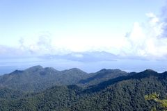 Langkawi Island Mountains and Seas. View of the mountain range of Langkawi Island against a backdrop of the sea, many other islands and blue skies. The mountain Royalty Free Stock Photos