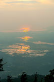 Langkawi island at sunset in haze. View on Langkawi island from above at sunset in haze, Malaysia Royalty Free Stock Images