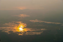 Langkawi island at sunset in haze. View on Langkawi island from above at sunset in haze, Malaysia Royalty Free Stock Photos