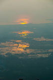 Langkawi island at sunset in haze. View on Langkawi island from above at sunset in haze, Malaysia Royalty Free Stock Photo