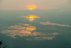 Langkawi island at sunset in haze. View on Langkawi island from above at sunset in haze, Malaysia Royalty Free Stock Photography