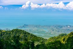 Langkawi landscape of delta of river, tropical island in Asia royalty free stock photography