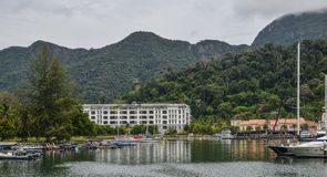 Yatchs in the port of Langkawi Island stock photo