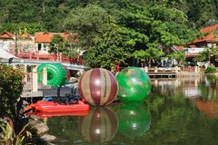 Luxury Paradise by the lake of Oriental Village. Langkawi, Malaysia - February 16, 2016: Luxury Paradise by the lake, spa home, hotels and shops for tourists at Stock Photo
