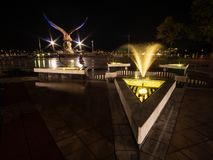 LANGKAWI, MALAYSIA - FEBRUARY 5, 2019 - Langkawi eagle statue with colourful light at night royalty free stock photos
