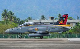 British Aerospace Hawk 200 at the airport. Langkawi, Malaysia - Mar 31, 2019. British Aerospace Hawk 200 of Royal Malaysian Air Force TUDM M40-32 taxiing on stock photo