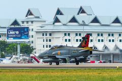 British Aerospace Hawk 200 at the airport. Langkawi, Malaysia - Mar 31, 2019. British Aerospace Hawk 200 of Royal Malaysian Air Force TUDM M40-32 taxiing on stock images