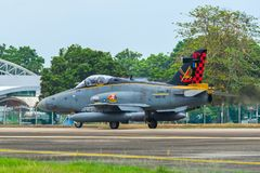 British Aerospace Hawk 200 at the airport. Langkawi, Malaysia - Mar 31, 2019. British Aerospace Hawk 200 of Royal Malaysian Air Force TUDM M40-32 taxiing on stock image