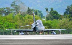 British Aerospace Hawk 200 at the airport. Langkawi, Malaysia - Mar 31, 2019. British Aerospace Hawk 200 of Royal Malaysian Air Force TUDM M40-32 taxiing on stock photography