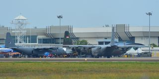 Lockheed C-130H Hercules at Langkawi Airport royalty free stock image