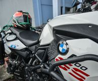 BMW logo on the new heavy motorcycle stock photography