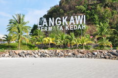 Langkawi Signage. Signage of Langkawi at Pantai Cenang Beach in Malaysia Royalty Free Stock Photography