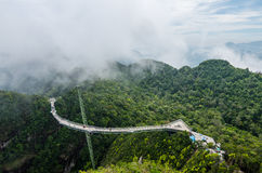 Langkawi Sky Bridge. Is a 125-metre curved pedestrian cable-stayed bridge in Langkawi Islands, Malaysia, completed in 2005. The bridge deck is located 660 Stock Image