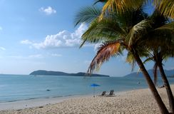 Langkawi - Tropical Beach. Beautiful Cenang Beach in Langkawi, Malaysia,  Coconut tree by sea and blue sky Royalty Free Stock Photos