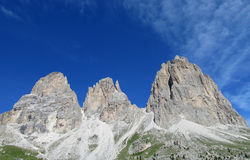 Langkofel, Sassolungo美好的岩石峰顶  库存照片