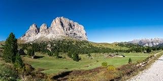 Langkofel Dolomites panorama   South Tirol Italy. Langkofel Dolomites Panoramic view in south tirol Italy Royalty Free Stock Images