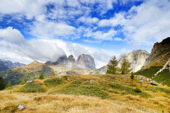 The Langkofel Group in italian: Gruppo del Sassolungo the massif mountain in the western Dolomites. Stock Photography