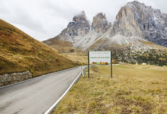 The Langkofel Group in italian: Gruppo del Sassolungo the massif mountain in the western Dolomites. Royalty Free Stock Image