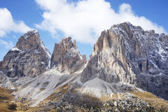 The Langkofel Group in italian: Gruppo del Sassolungo the massif mountain in the western Dolomites. stock photos