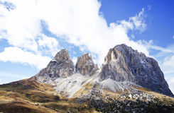 The Langkofel Group in italian: Gruppo del Sassolungo the massif mountain in the western Dolomites royalty free stock photo