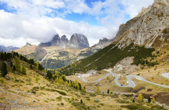 The Langkofel Group in italian: Gruppo del Sassolungo the massif mountain in the western Dolomites. Royalty Free Stock Photo
