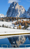Langkofel reflection in autumn Stock Photos