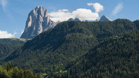 Langkofel from Sankt Ulrich Stock Photo