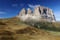 Langkofel Sassolungo in the Morning Light, Dolomites, Italy Royalty Free Stock Image