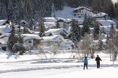 Langlaufer, cross country skiing, in Davos during winter stock photo