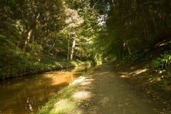 Langollen kanal på Chirk reflexioner av träd Arkivfoto