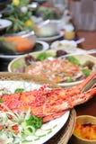 Langosta en cena de la comida fría Imagen de archivo