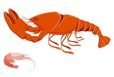 Langosta y camarón imagen de archivo