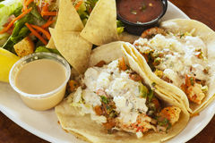 Langostino tacos, also referred to as shrimp tacos Stock Images
