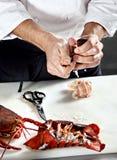 Langoustine bouillie par ouverture en chef Image libre de droits