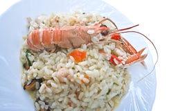 Langoustine com arroz-fim acima Fotos de Stock Royalty Free