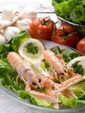 Langoustine de Norvège avec de la salade Photos libres de droits