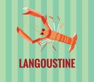 Langoustine - desenho no fundo verde Fotos de Stock