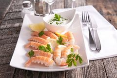 Langoustine and sauce Stock Photo