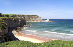 Langre beach. Langre a beautiful beach of Cantabria, Spain stock photo