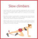 Langsame Bergsteiger-Plakat-Text-Vektor-Illustration lizenzfreie abbildung