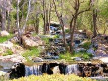 Langsame Kaskade des Wasserfallens stockfotos