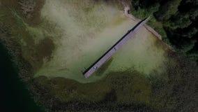 Langsame vertikale Landung über dem See mit kleiner Brücke nahe Wald stock video footage