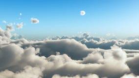 Langsamer Flug über cloudscape stock abbildung