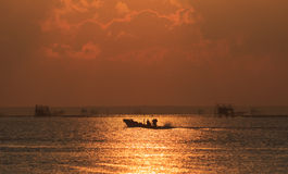 Langschwänziges Boot im Meer Stockbild