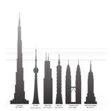 Langste gebouwen van de wereld stock illustratie