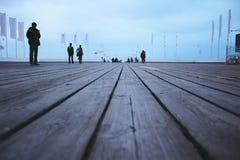 Langste houten pijler in Europa stock afbeeldingen